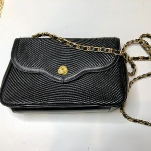 Handbags - Black and Gold Leather Purse